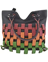 D'craft Lady Black Hand Bag With Multi Color Strapped Look