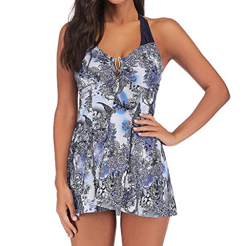 QingJiu Damen Übergröße drucken Tankini Schwimmanzug Badeanzug Beachwear Gepolsterte Badebekleidung Top Plus Size Print Slip (XXXXX-Large, Blau) -