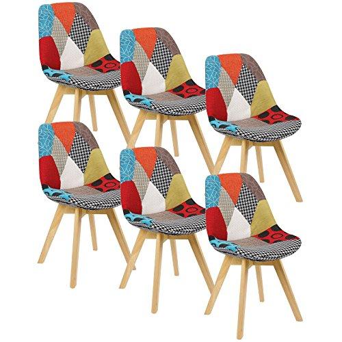 Woltu bh29mf-6 sedie per sala da pranzo soggiorno con schienale tessuto di lino legno patchwork 6 pezzi