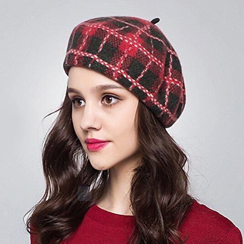 Maitose™ Plaid 100% laine béret de femmes Rouge