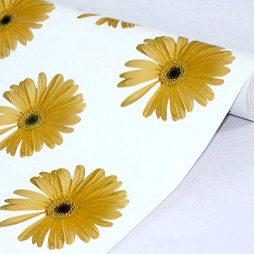 lovefaye Abziehen & Aufkleben Regalen herausnehmbarer Kontakt Papier zum abdecken Wohnungs Old Schublade Schränke, gelb daisy, 45cm von 9.8Füße