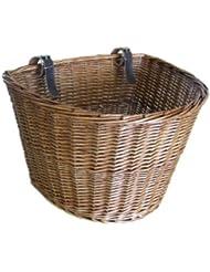 Cesta de mimbre tradicional mediana para bicicleta con tiras de cuero - Estilo 2, L: 34cm; Ancho 28cm; Alto: 28cm, Madera