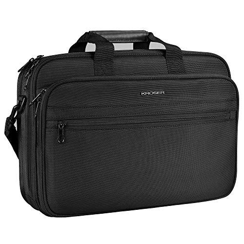 """KROSER 17"""" Laptop Tasche Aktentasche passt bis zu 16 Zoll(40.64CM) Wasserabweisende Computer Tasche Leichte Schultertasche Laptop Messenger Bag für Reisen/Business/Männer/Frauen-Schwarz MEHRWEG"""
