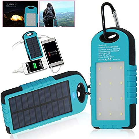 Sidiou Group 8000mAh Solar tesoro de carga portátil USB cargador dual linterna de la lámpara de emergencia LED de iluminación LED acampan al aire libre luces de la tienda luz del campo de la energía solar funcional del Banco móvil de la energía de iluminación (Azul Shell + borde