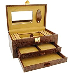 2-drawer leather jewelry box engraved coconut Size: U Color: CHESTNUT