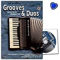 Grooves and Duos pour accordéon et Duo partenaires–Auteur: Peter Michael Haas–lehrbuch avec CD et coloré Cœur Note Pince