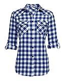 Bluse Kariertes Damen Hemd Langarm Karohemd Baumwolle V-Ausschnitt Casual Boyfriend Blusenshirt mit Einstellbare Ärmeln