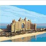 QAZZSF Hotel La Palma Dubai Pintura por Números Paisaje Pintura por Números Kit Pintura Al Óleo sobre Lienzo 40X50CM