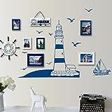 Anself Entfernbarer Wand Aufkleber Blaue Segelboot Tower Foto Kunst Abziehbild Wand DIY Tapete für Zimmer Aufkleber 22,5 * 50cm (Blaue Segeln)