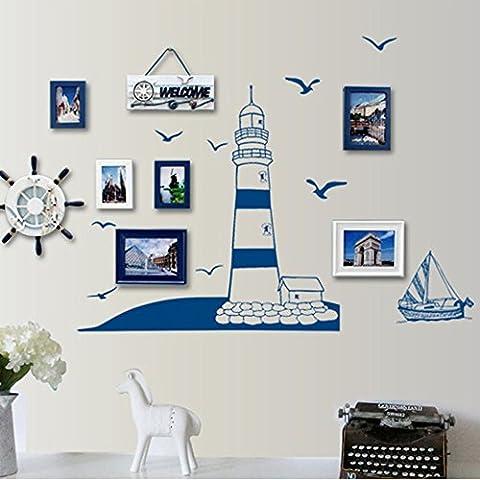 Anself Mur Amovible Sticker Bleu Voile Bateau tour Photo Art Stickers Mural Bricolage Papier Peint pour Chambre Vignette