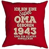 Geschenkidee zum 75 Geburtstag Kissen mit Füllung super Oma geboren 1943 Polster zum 75. Geburtstag für 75-jähirge Dekokissen Oma Opa