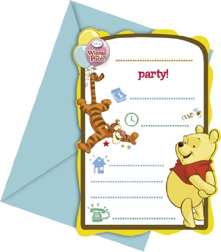 Disney Winnie l'ourson fête Cartes d'invitation avec enveloppes - Lot de 6