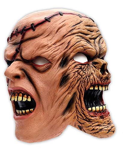Zoelibat Horror Halloween Maske mit zwei Gesichtern - Fasching Karneval gruselige Latexmaske zum Kostüm