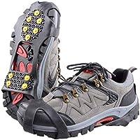 TRIWONDER Ice Grips 10 Dientes Antideslizante Zapato/Bota Ice Traction Slip-on Snow Puntas de Hielo Crampones Calas Estiramiento de la tracción del Calzado (Negro,S (EUR: 34-37))