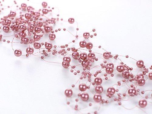 Perlengirlande altrosa rosa 5 Stück á 1,3m Tischdeko Hochzeit Taufe Weihnachten