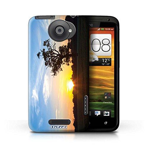 Kobalt® Imprimé Etui / Coque pour HTC One X / Chaîne de montagne conception / Série Coucher du Soleil Bleu Chêne