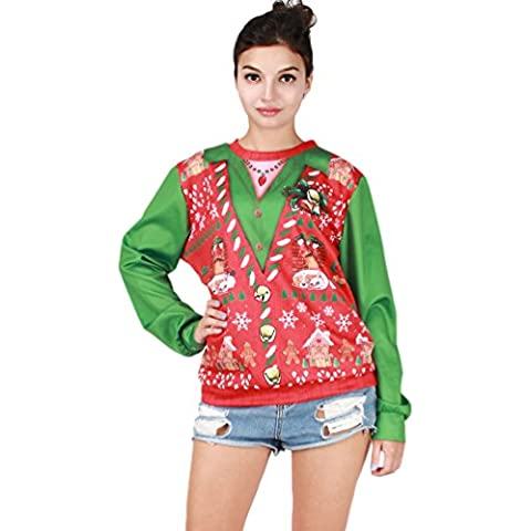 NiSeng Donna Uomo Christmas Jumper Natale Pullover Tops Casual Felpe Sportive Sweatshirt Autunno Inverno
