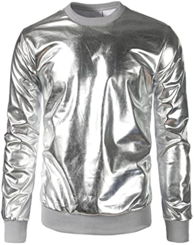 Koly Los hombres de la blusa, Músculo Slim Fit O-cuello de manga larga camiseta (XL, plata)  -