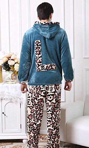 tonwhar Paar Herbst Winter Flanell Pyjama Sets Blau - Blau