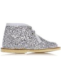 SAUSALITA - Zapatilla plateada con cordones en glitter, borde superior en tela, Niña, Niñas