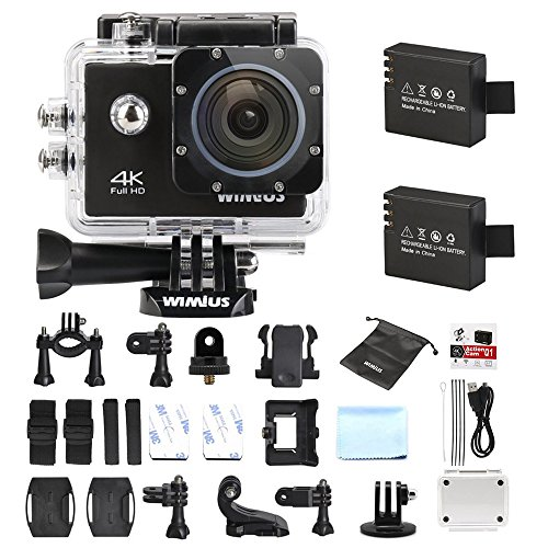 Galleria fotografica Action Cam 4K, Wimius Sport Action Camera WIFI Full HD 16MP, Fotocamera Subacquea 4k Impermeabile WebCamera 170°Grandangolare 2.0 Schermo LCD con Vari Accessori Kit Nero