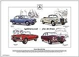 goldenera Classic Mercedes A3Print–200, 280SL, 220SEB Cabriolet & 300SEL 6,3