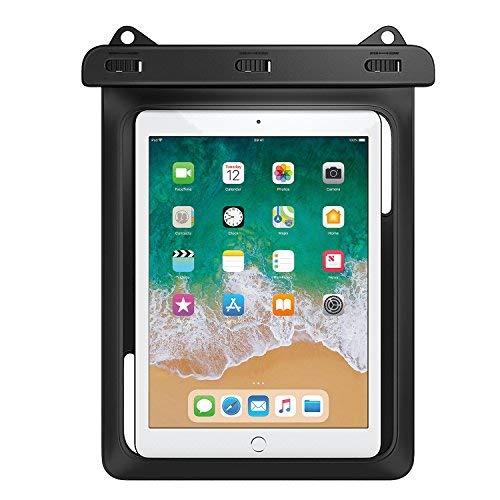 MoKo Wasserdichte Hülle Tasche Beachbag mit Halsband für iPad Mini 2019, Samsung Tab A 10 / Tab A 9.7 / Tab E 9.6, bis zu 10 Zoll Tablets, Schutzhülle für Strand, Wandern, Outdoor - IPX8, Schwarz