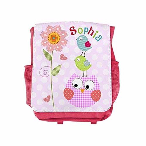 Kinderrucksack Eule mit Name für Mädchen in Pink, Kita, Kindergarten, Vogel, personalisiert, (Illustrierte Vögel)