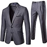 MISSMAO_FASHION2019 Herrenanzüge 2 teilig Anzug für modern Business Prom Anzugjacke und Anzughose Grau 4XL