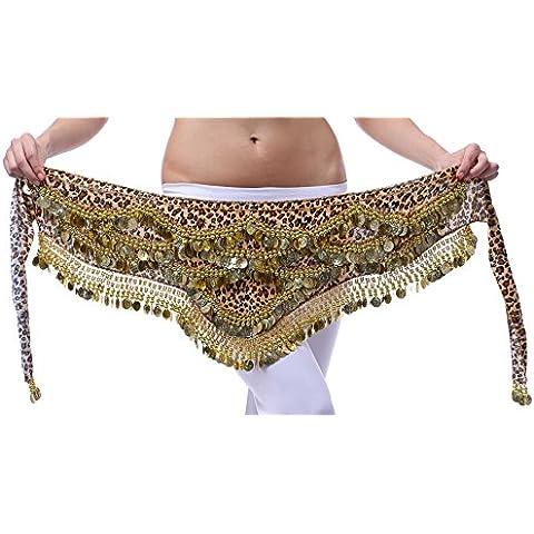 Fairycece danza del ventre hip sciarpa sciarpe di velluto 480monete d' oro cintura Wave Design