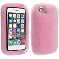 Case for iPhone 7 Plus, 8 Plus, TechCode Furry Cell Phone Case Soft Warm with Handmade Bling Crystal Rhinestone Back Protector Cover for iPhone 7/8 Plus 5.5 inch (Pink)