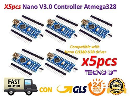 TECNOIOT 5pcs Arduino Nano V3.0 Controller Board Atmega328P Compatible Arduino Nano V3 CH340 |5 stücke Arduino Nano V3.0, Nano CH340 / ATmega328P Bord, kompatibel mit Arduino Nano V3.0 (Yosemite Wifi-adapter)