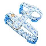 Queenly H-Hundegeschirr hellblau-weiß Herzen XS-M I Hunde-Geschirr für Welpen/kleine/mittelgroße Hunde