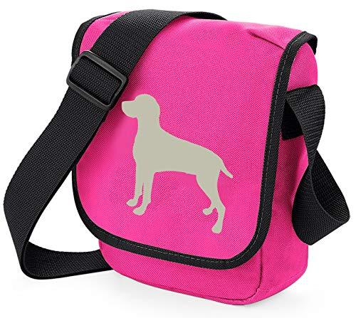 Weimaraner Hundetasche Reportertasche Umhängetasche Weimaraner Silhouette Weimaraner Geschenk Farbwahl, Pink - Grey Dog Pink Bag - Größe: Small/Medium -