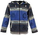 Guru-Shop Goa Jacke, Ethno Kapuzen Jacke, Herren, Blau, Size:M, Jacken, Ponchos Alternative Bekleidung