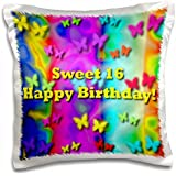 Neon Butterflies and Rainbows Sweet16 Birthday - 16x16 inch Pillow Case