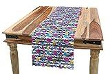 ABAKUHAUS Emoji Tischläufer, Sommer Comics 80er Stil, Esszimmer Küche Rechteckiger Dekorativer Tischläufer, 40 x 225 cm, Gelb Rosa Blau