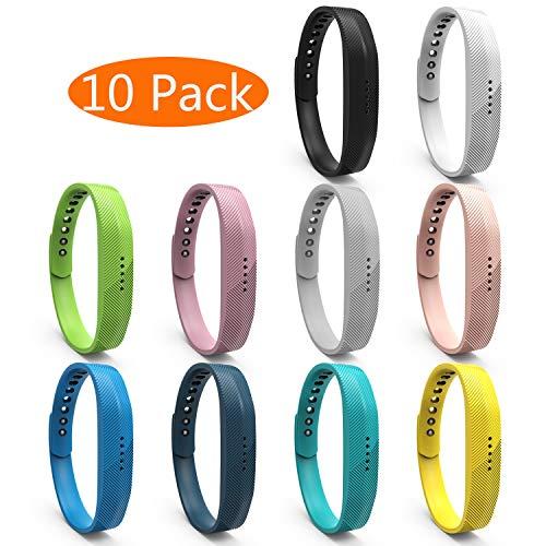 KingAcc Kompatibel Fitbit Flex 2 Armband, Weiche Silikon Ersatz Armbänder Armband für Fitbit Flex 2, Metall Schnalle Fitness Armband Uhrenarmband Frau Männer (10-Pack,10Farbe,Klein)