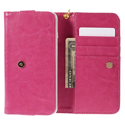 """DFV mobile - Cover Premium Crazy Horse PU Leather Wallet Case with Card Slots for =>      APPLE iPhone 6s / [4,7""""] > Black Pink"""