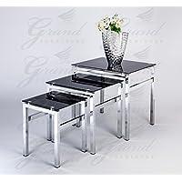 Elsa Modern Glass Nest Of Tables Black 3 Lamp Side Coffee Table Set Living  Room Furniture