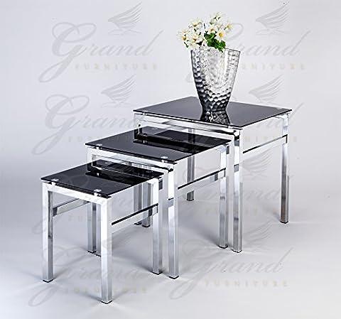 Glass Furniture Lot de 3 tables gigognes en verre Noir