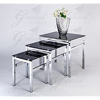 Elsa Modern Glass Nest of Tables Black 3 L& Side Coffee Table Set Living Room Furniture  sc 1 st  Amazon UK & Home Discount Cara Black Glass Coffee Table with Chrome Legs ...