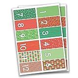 24 Autocollants avec numéro pour Calendrier de l'Avent Rectangulaire - Rouge-Vert Nr 35 - Autocollants - pour créer ou décorer