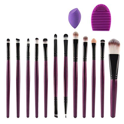 Honestyi 12pcs Pinceau de Maquillage Brosse éponge Nettoyeur Fondation (Violet)