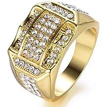 MNEFEL Anillo de Negocios para Hombres Anillo de Diamantes Anillos de Oro Anillos cJewelry Regalo