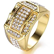 06ad30fe933b EMHU Anillo de Negocios para Hombre con Diamantes insertados en Oro Anillos  cJewelry Regalo