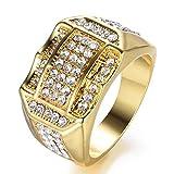 EMHU Anillo de Negocios para Hombre con Diamantes insertados en Oro Anillos cJewelry Regalo, Golden, 10