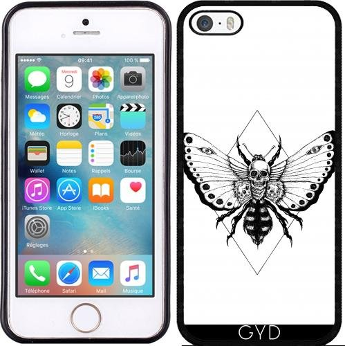 Coque Silicone pour Iphone 5/5S - Crâne Papillon by JailbreakArts Silicone