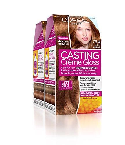 L'Oréal Paris Casting Crème Gloss Coloration Ton Sur Ton Sans Ammoniaque 7.34 Miel Ambré Lot de 2
