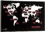 Große Wanduhr in Form einer Weltkarte mit 24 roten Led-Zeitangaben - Geeignet für Geschäfte, Büros, Lokale